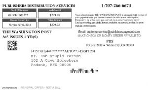 Washington Post Invoice