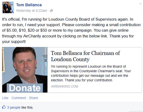 Tom Bellanca Facebook Announcement